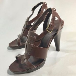J Crew Brown Leather Strappy Heels Sandals Size 8